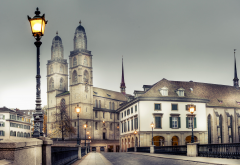 zurich, switzerland, house, lantern, city, bridge wallpaper