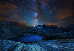 lake, mountains, sky, night, crater lake, milky way, stars, nature wallpaper