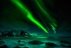 nature, aurora borealis, mountains, lake, norway, lofoten, aurora, nothern lights wallpaper
