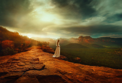 nature, mountains, rocks, women, girl, white dress, sunset wallpaper