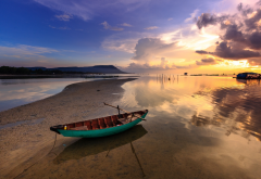sea, boat, sunset, nature, phi quoc, vietnam wallpaper