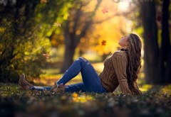 autumn, women, park, falling leaves, leaf wallpaper