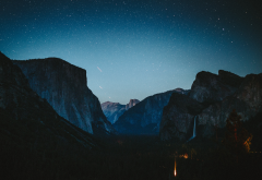 yosemite national park, waterfall, mountains, nature, night, stars, usa, california wallpaper