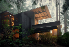 house, coziness, beautiful, forest, olson kundig, cabin wallpaper