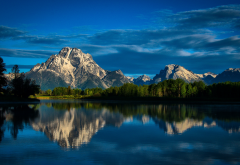 nature, mountains, lake, trees, sky, clouds, reflection wallpaper