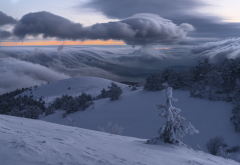 nature, landscape, crimea, hills, winter, snow, demerdzhi, trees, fir, clouds, morning, demerdzhi mountain wallpaper