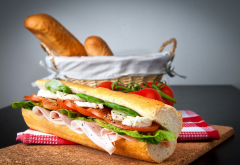 tomatoes, sandwich, baguette, food wallpaper