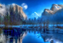 yosemite national park, california, winter, landscape, art wallpaper