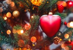 holidays, new year, christmas, spruce, heart, bokeh, cones, fur wallpaper