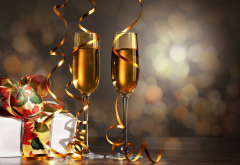 holidays, new year, glasses, champagne, serpentine, bokeh, christmas wallpaper