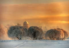 church, nature, winter, snow, tree, frost, dome, sunset, saint-petersburg, russia wallpaper
