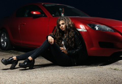 mazda, women cars, red car, jeans, brunette wallpaper