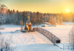 nature, winter, snow, forest, river, vuoksa, church, bridge, sun wallpaper