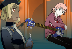 FLCL, Haruko Haruhara, bass guitars, police wallpaper