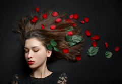 red lipstick, leaves, face, makeup, portrait, model, closed eyes, women, petals wallpaper
