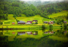 forest, river, reflection, norway, village, nature, fog wallpaper