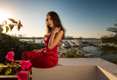 women, model, brunette, red dress, yacht, palm wallpaper