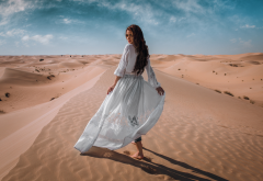 women, model, sand, dune, desert, white dress, brunette wallpaper