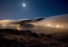 night, hills, road, fog, sky, moon, night, nature wallpaper