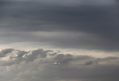 nature, landscape, minimalism, sky, clouds, airplane, aircraft wallpaper