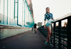 girl, city, skateboard, legs, jeans shorts, blonde wallpaper