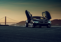 bmw i8, bmw, cars, bridge, twilight wallpaper
