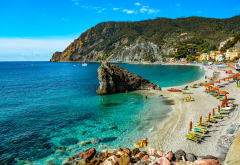 monterosso al mare, la spezia, liguria, cinque terre, sea, town, beach, rock, hill, resort, nature, italy wallpaper