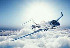 learjet 45, clouds, aircraft, aviation, plane, sky, private jet wallpaper