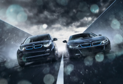 bmw, rain, cars, bmw i3, bmw i8 wallpaper