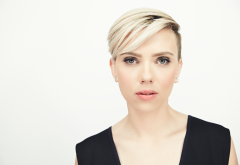 scarlett johansson, short hair, blonde, blue eyes wallpaper