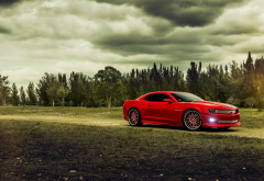 chevrolet, chevrolet camaro, red car, cars, clouds wallpaper