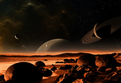 planet, space, art, graphics, saturn, landscape wallpaper