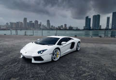 cars, lamborghini, white car, supercar, city, skyscrapers, lamborghini aventador, tuning wallpaper
