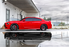 dodge charger srt8, red car, cars, reflection, dodge charger, dodge wallpaper