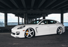 porsche panamera, white car, porsche, bridge, cars wallpaper