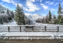 road, snow, tree, mountains, sky, winter, bridge, nature wallpaper