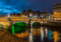 dublin, ireland, river, city, night, bridge wallpaper