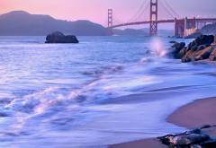 sea, beach, bridge, golden gate bridge, seaside, city, nature, california wallpaper