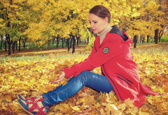 autumn, park, women, sitting, trees, jacket, leaves, leaf wallpaper