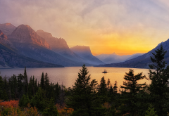 saint mary lake, montana, mountains, lake, sunset, landscape, glacier national park, fir, nature wallpaper