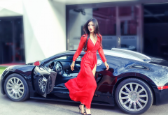 bugatti, red dress, cars, brunette, women, asian wallpaper