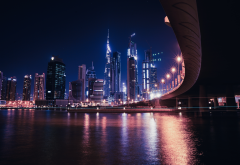 dubai, city, bridge, uae, night wallpaper