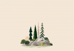 illustration, simple, minimalism, forest, trees, rock wallpaper