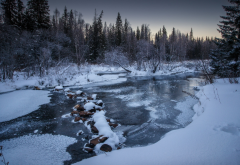zyuratkul, mountains, winter, ural, russia, snow, river, forest, nature wallpaper