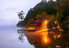 lake, house, pier, fog, light, reflection, england, alswater, nature wallpaper