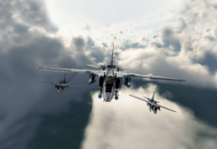 sky, airplanes, fighter, art, clouds, aircrafts wallpaper