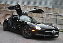 mercedes-benz sls amg, cars, black car, mercedes-benz, mercedes wallpaper