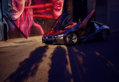 bmw i8, bmw, cars, supercar, black car wallpaper