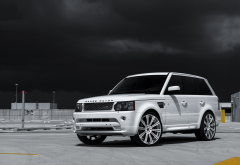white car, cars, dark clouds, range rover, land rover wallpaper