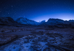 stars, sky, mountains, night, nature, alps, france wallpaper